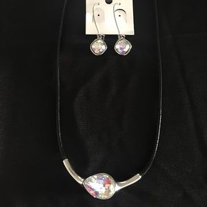 Iridescent Crystal Necklace and Dangle Earring Set